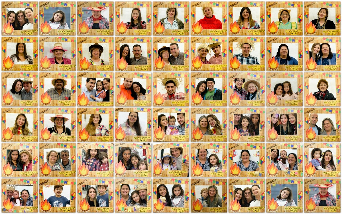 Colagem de fotos em painel com toda a familia,