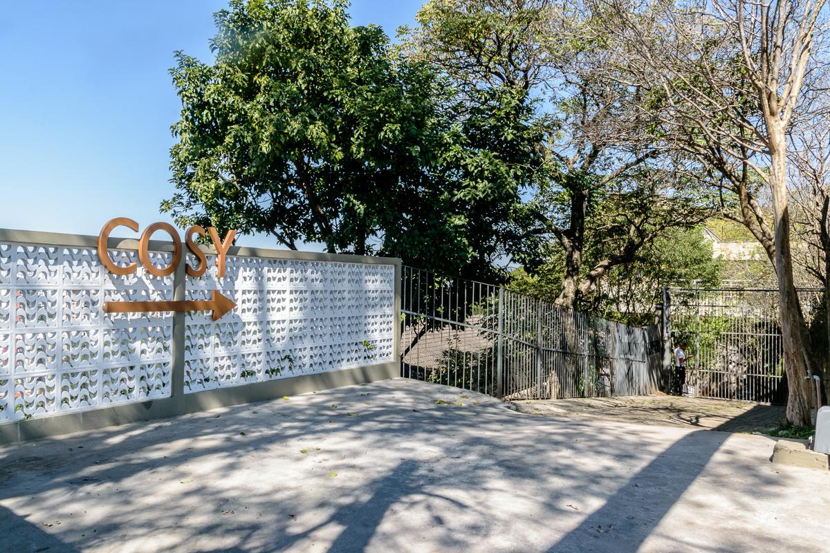 A faxada da entrada da Casa Cosy, onde foi realizado o evento corporativo do Banco Société Genérale