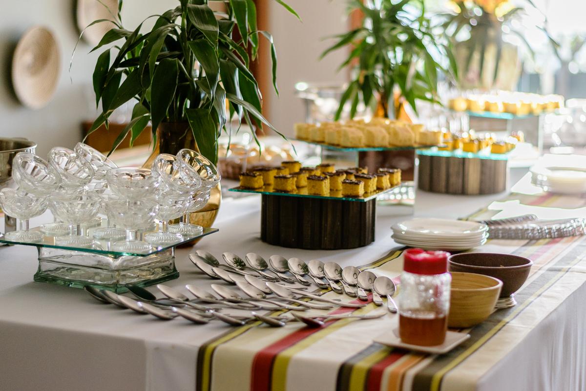 Visão da mesa de café da manha