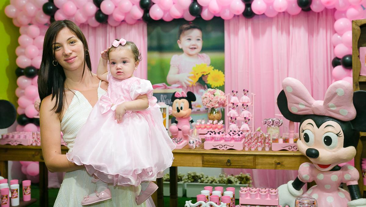 festa infantil minnie rosa e preto