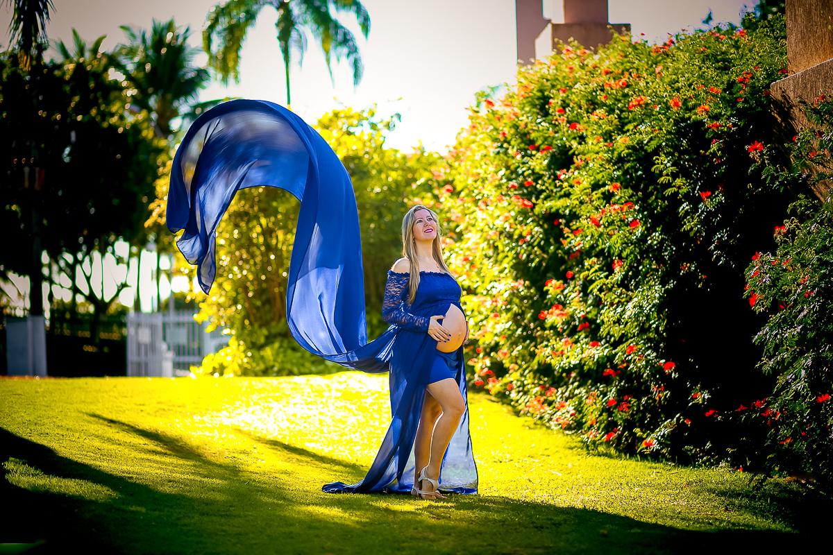 Ensaio Gestante vestido azul