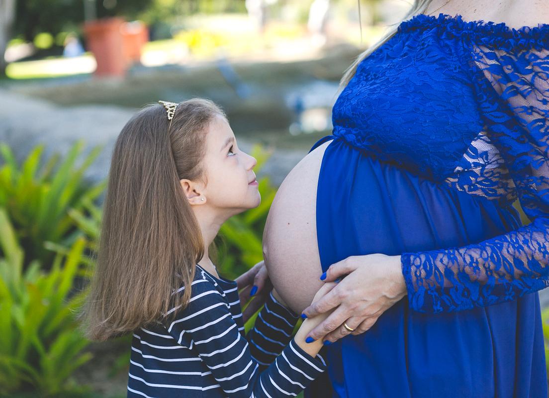 Ensaio Gestante externo vestido azul