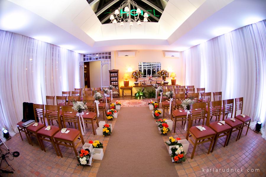 Decoração da cerimônia de casamento no Hotel Serra Alta