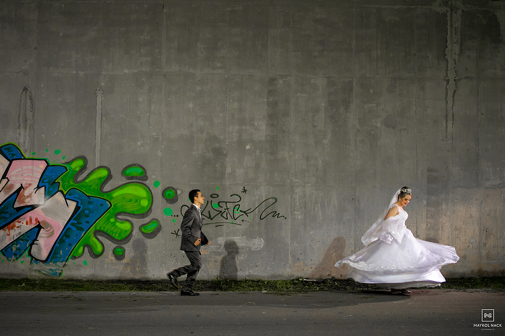 noivos depois do casamento