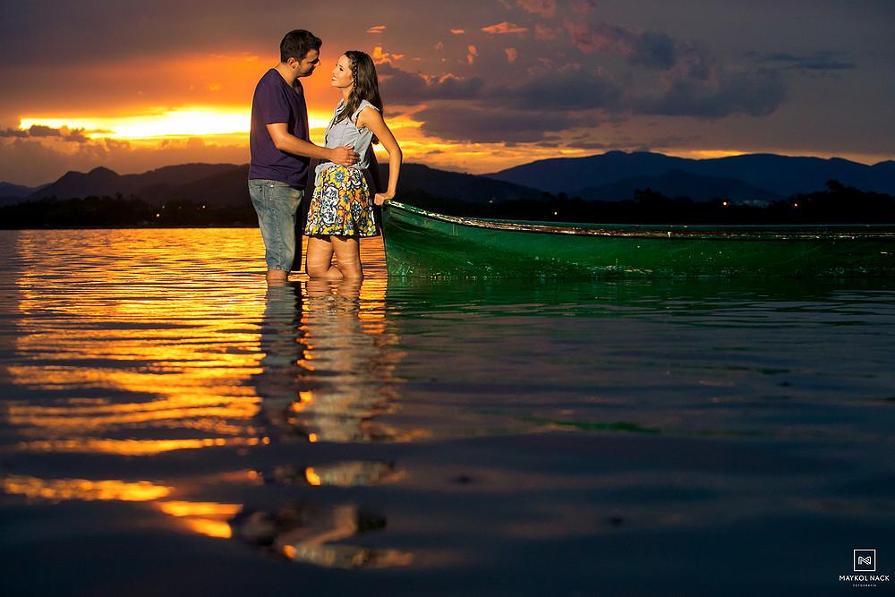 ensaio de casal na lagoa