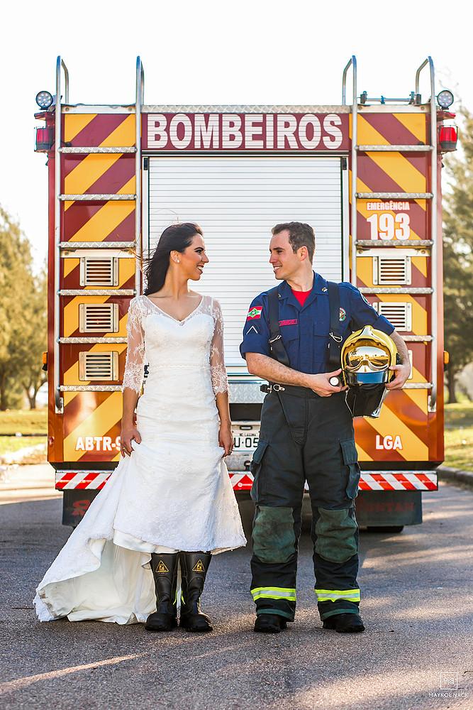 ensaio de casal bombeiro