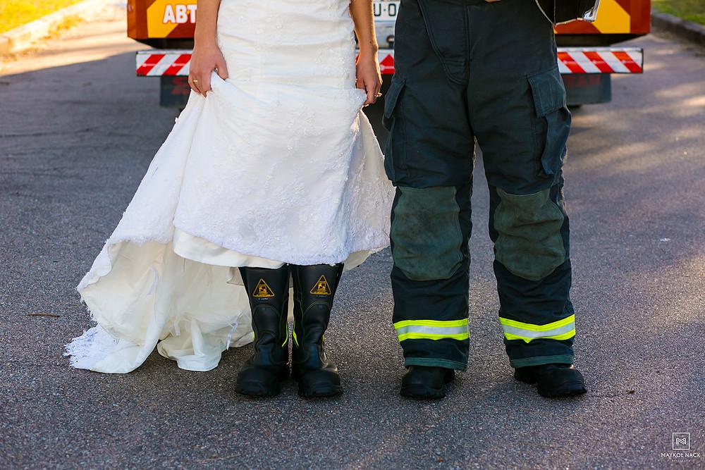 fotos de bombeiros casamento