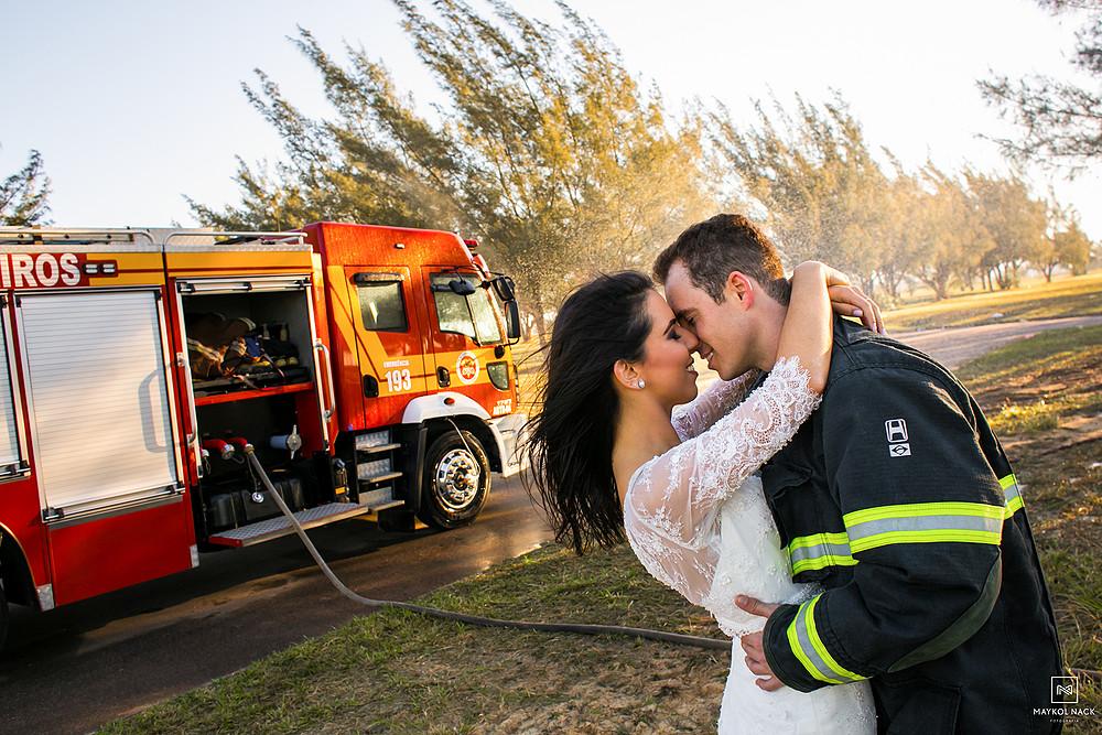ensaio noivos bombeiros