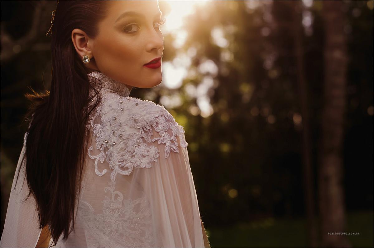 retrato de noiva no por do sol