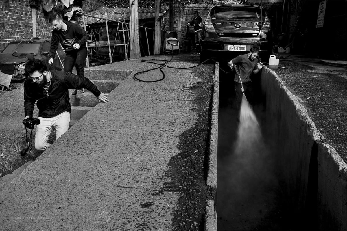 fotografando uma lavagem de carro