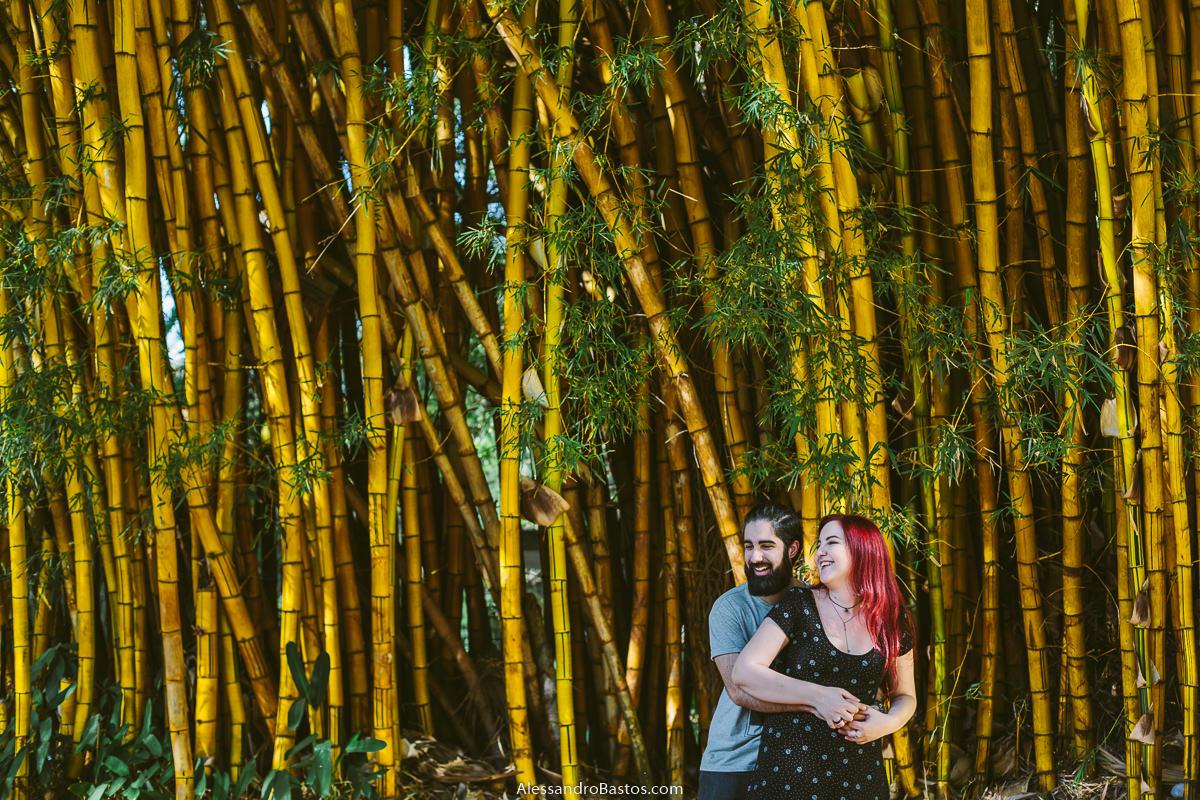bambuzal serve de cenário para os noivos em sessão de fotografia pré-wedding em bh antes do casamento