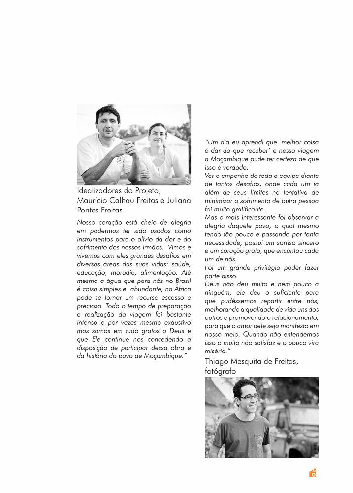 livro e projeto ong missão áfrica 2012 - depoimentos