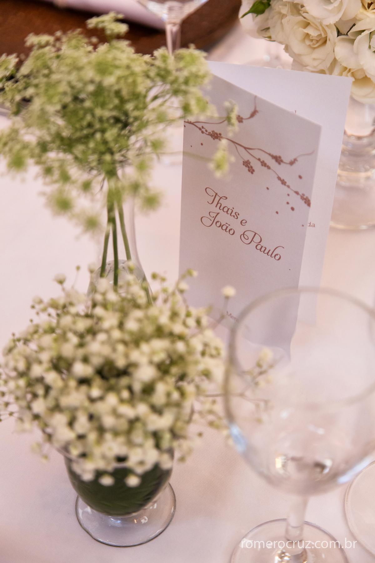 Fotografia do detalhe da decoração do casamento no Restaurante Cantaloup