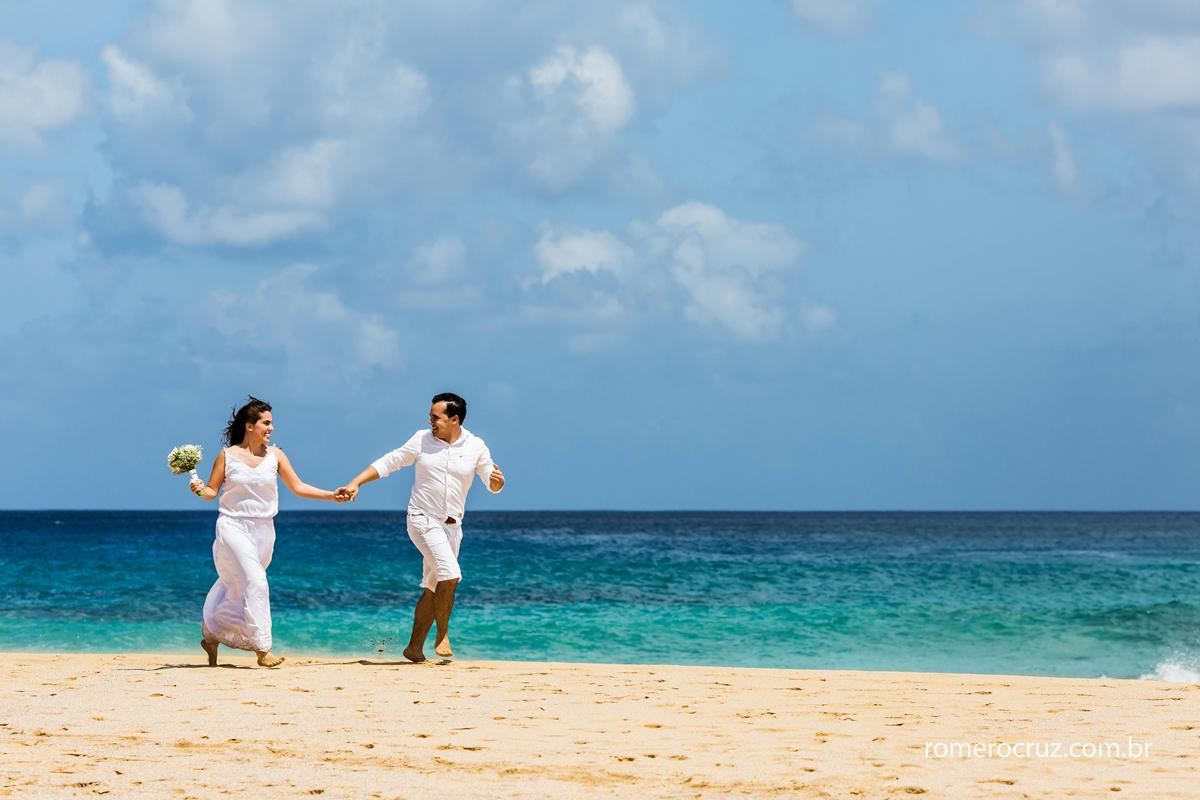 Casal de noivos Mariana e Anderson fez seu ensaio fotográfico em Fernando de Noronha