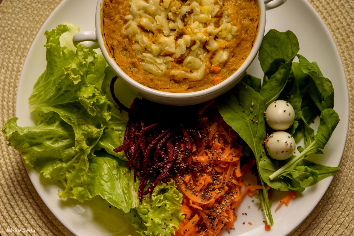 detalhe de almoço saudável executivo prato feito em Floripa
