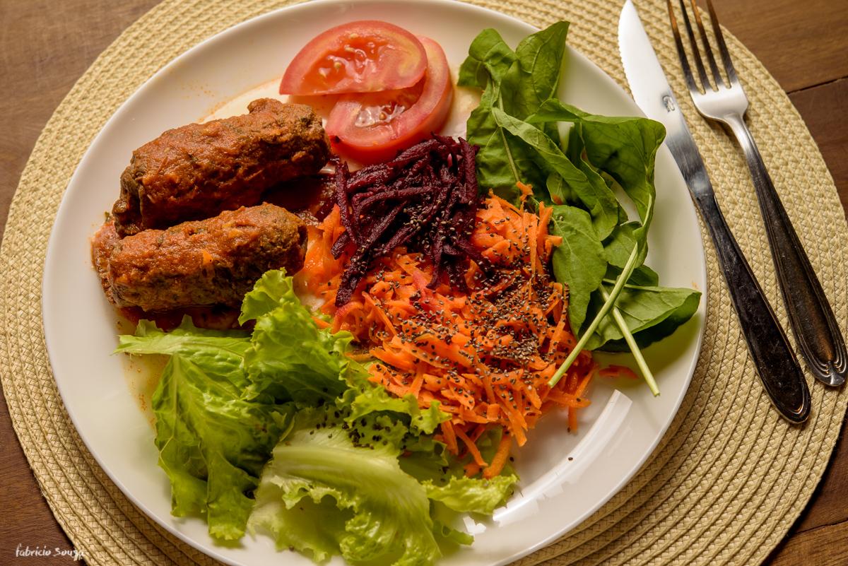 detalhe do prato na fotografia de comida da academia Top One Club em Coqueiros - Florianópolis