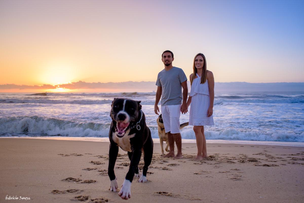 filhote de pitbull se diverte na praia durante sessão fotográfica pre-wedding