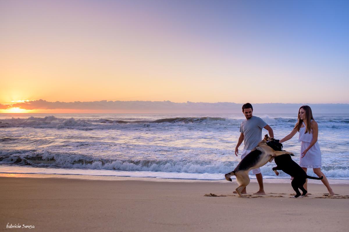 casal de cachorros brigando e brincando durante ensaio pre-casamento Mayara Besen Costa e Felix Tomazelli