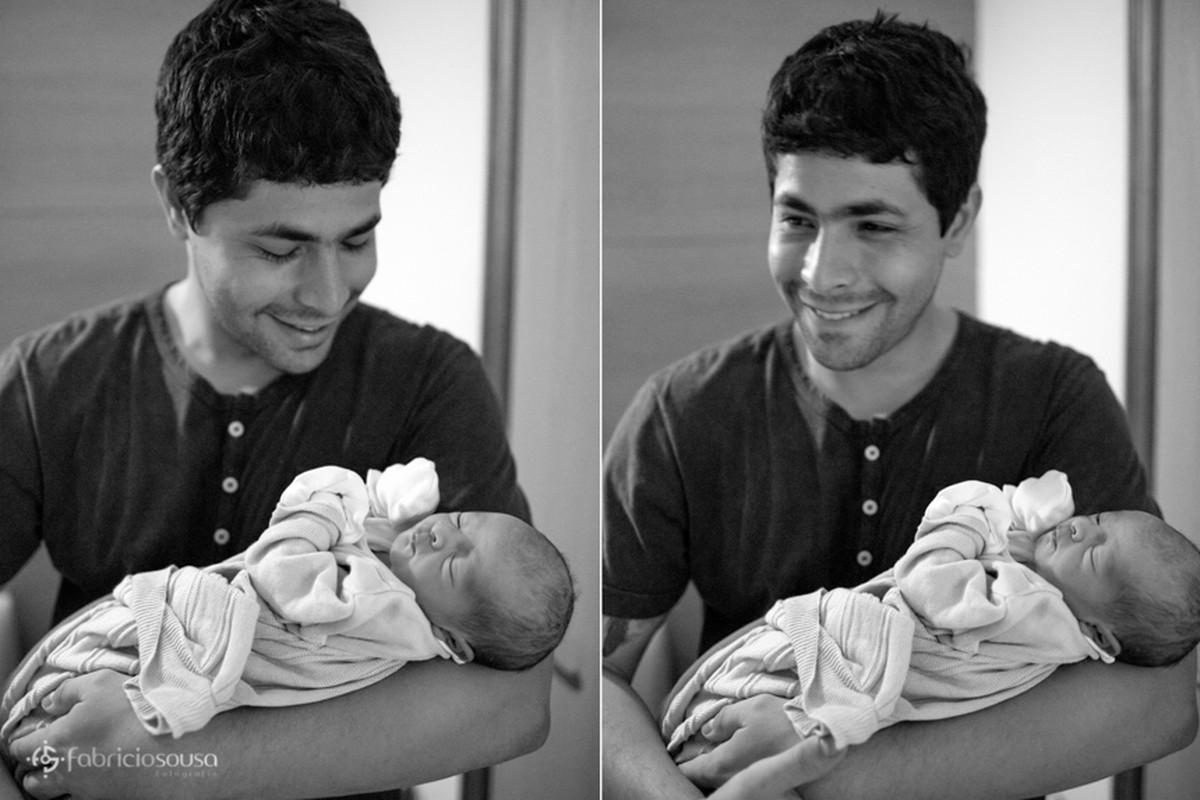 o papai orgulhoso segura seu filho em montagem de duas fotos