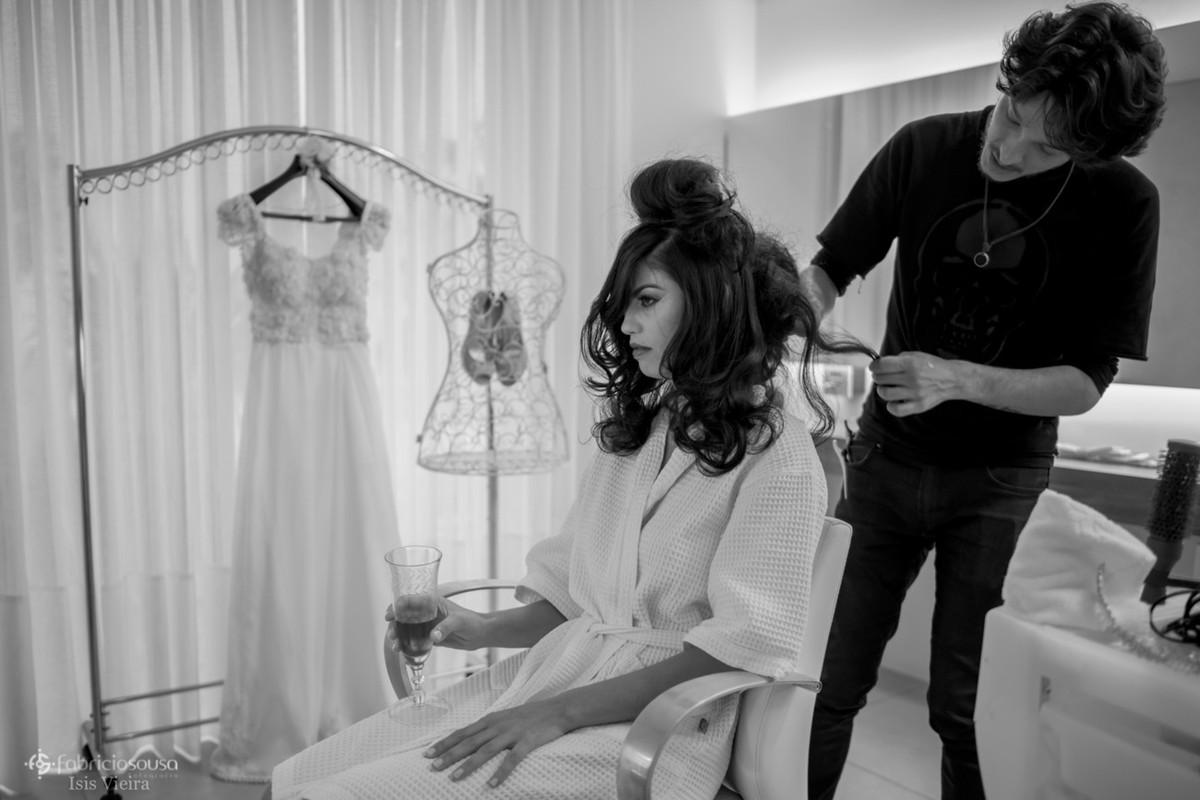 penteado da noiva no making of