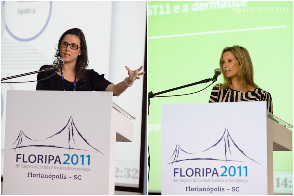 Montagem de duas fotos de duas palestrantes discursando