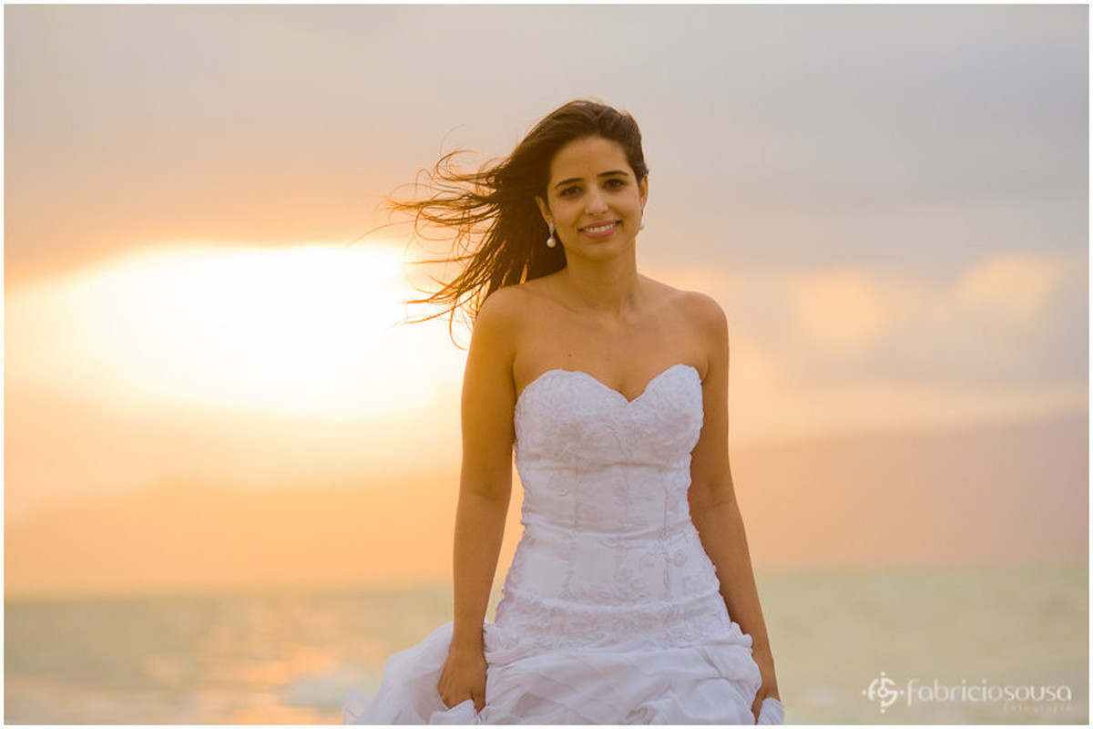 retrato da noiva Mariana no por-do-sol
