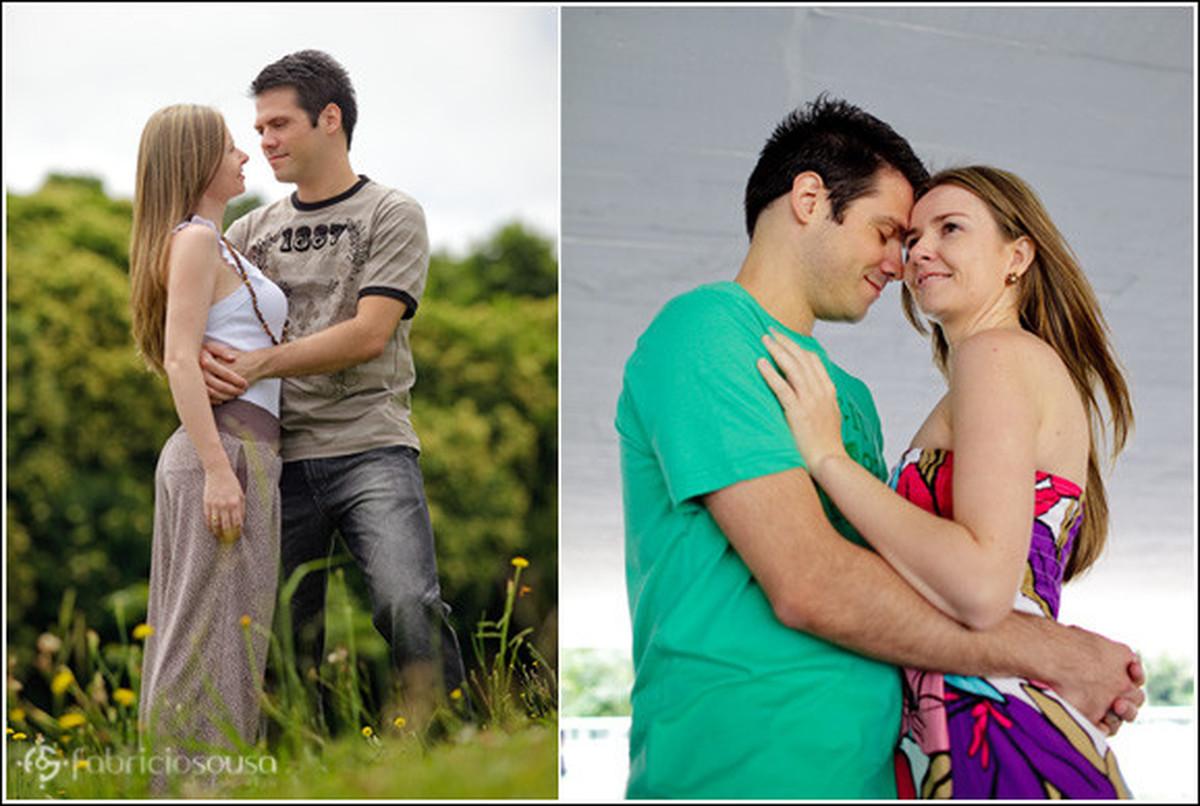 Montagem de duas fotos do casal de namorados se abraçando