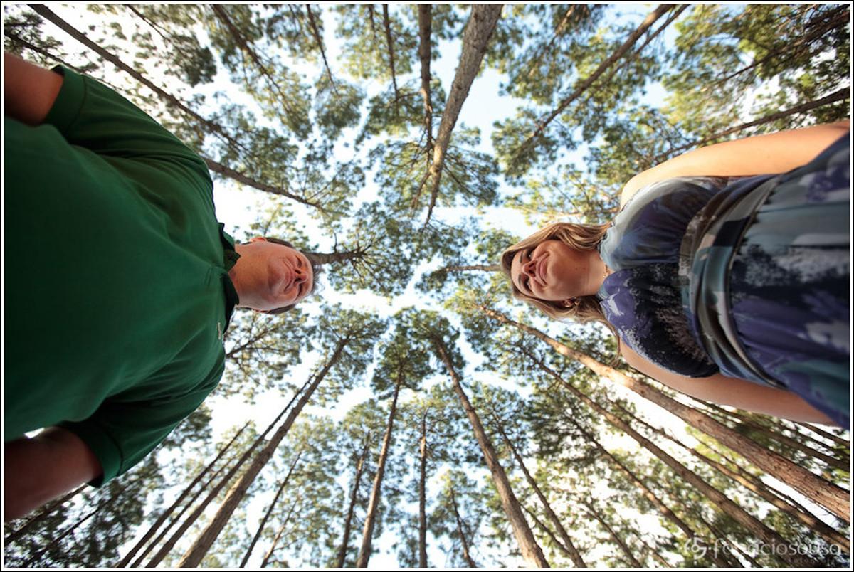 Ricardo e Leila trocam olhares no centro de conjunto de árvores da natureza