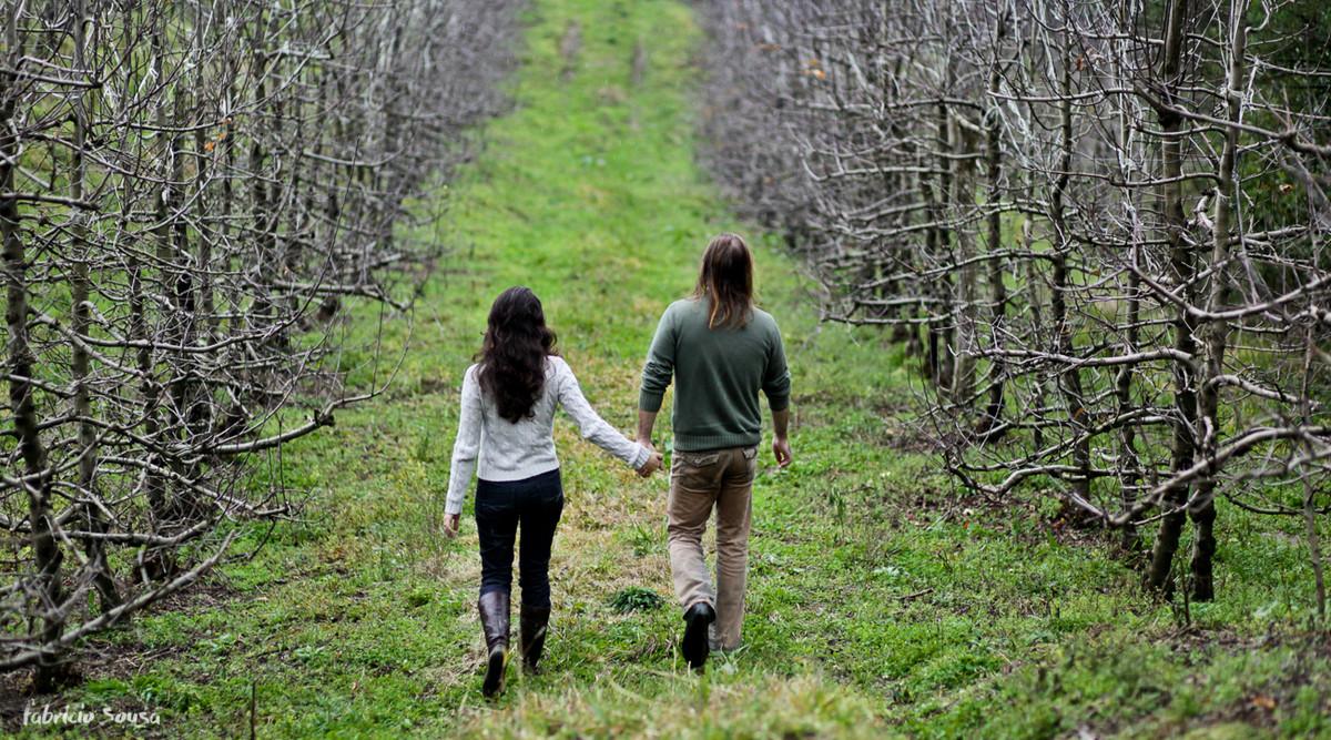andando de mãos dadas na plantação de maçãs