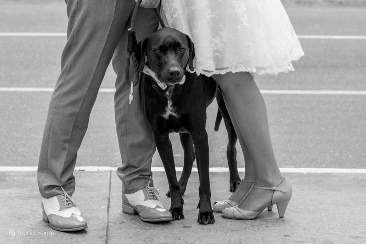 detalhe do cachorro Bruce no meio dos noivos no ensaio na avenida paulista