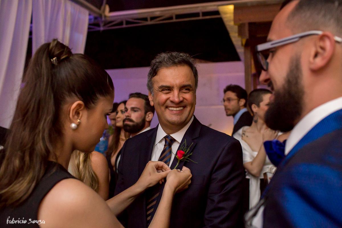 o padrinho ilustre Aécio Neves no casamento de Alice Matos e Giulliano Puga donos da La Bella Mafia, grife de roupas fitness