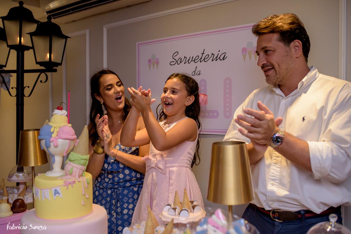 Lívia canta parabéns e se diverte no seu aniversário infantil