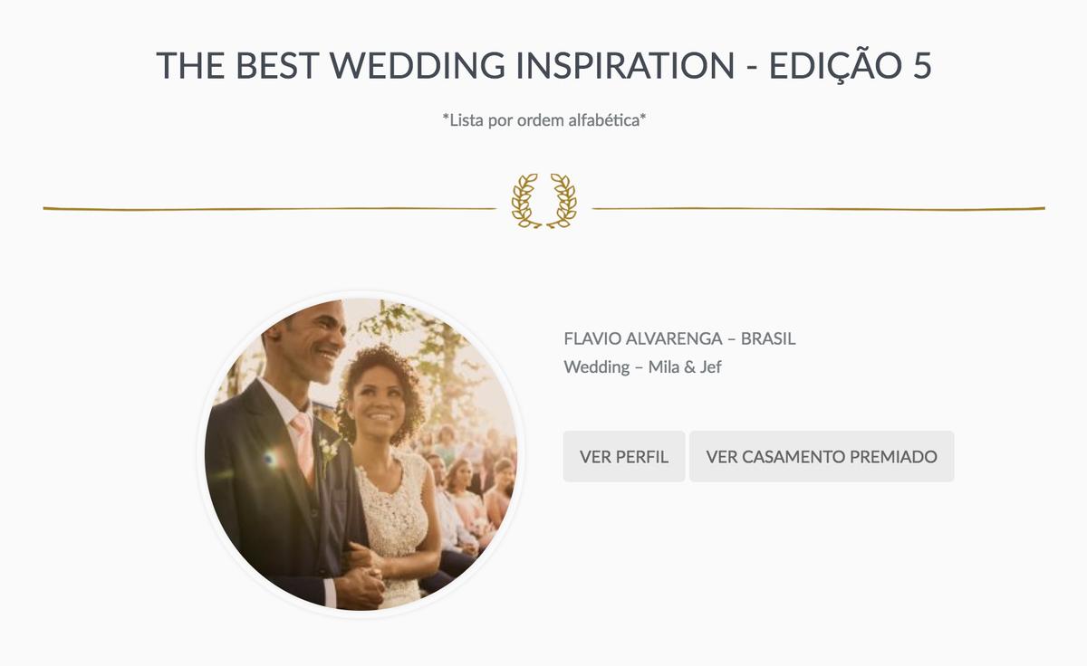 Imagem capa - Prêmio | The Best Wedding Inspiration - Edição 5 por Flávio Alvarenga