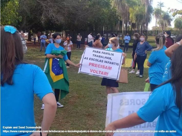 Imagem capa - Pais e donos de escolas protestam no Ministério Público por volta às aulas por EVENTO MS