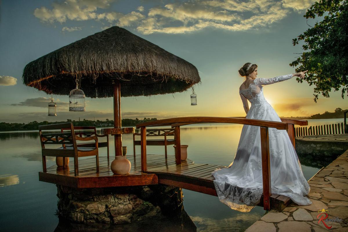 previa de noiva no por do sol