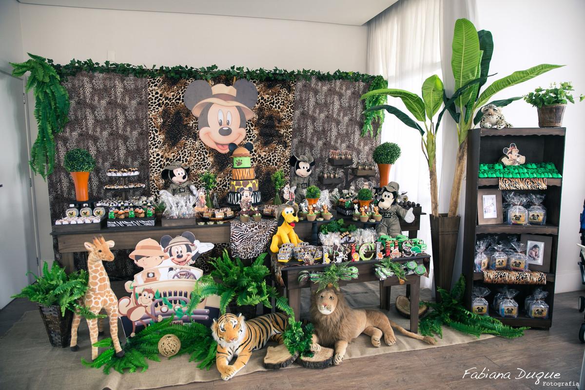 Decoração festa infantil mickey no safari