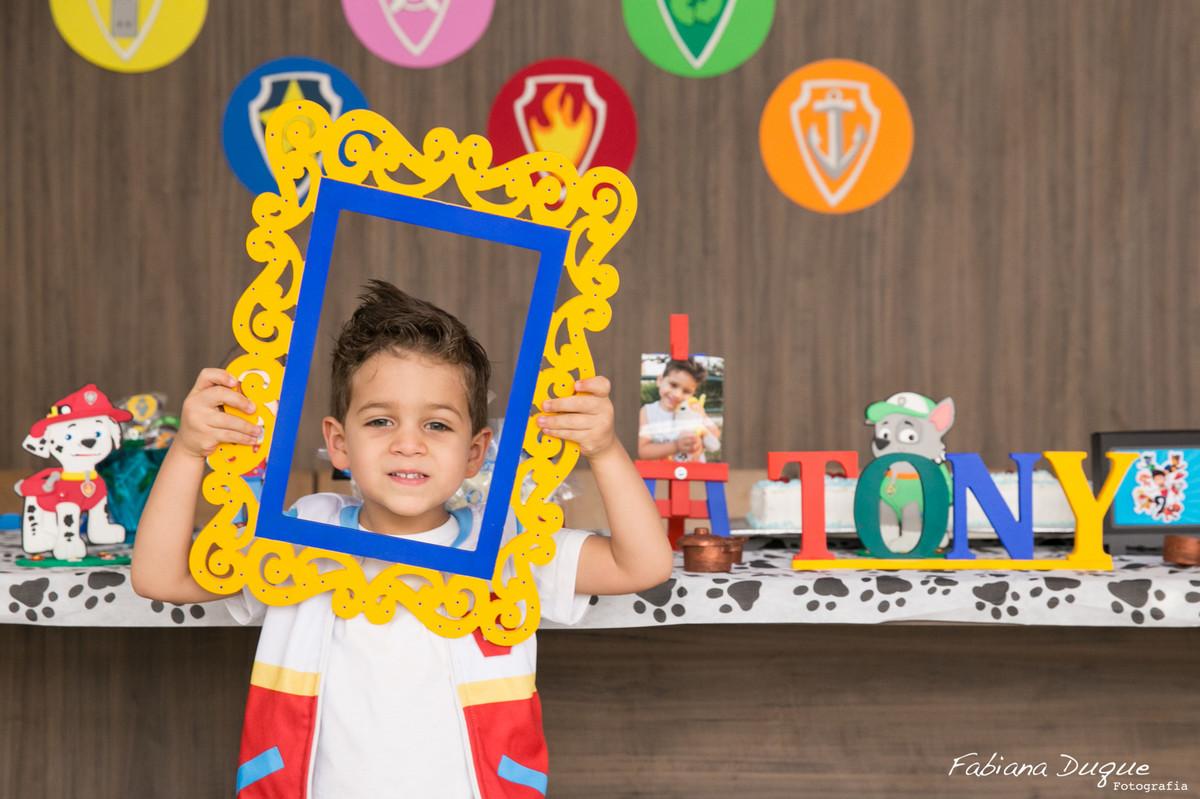 Festa infantil aniversário de criança com tema Patrulha Canina fotografado por Fabiana Duque Fotografia