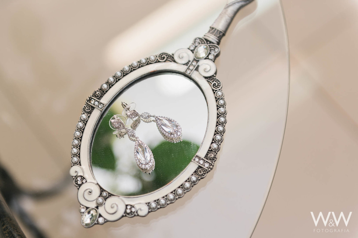 brincos noiva espelho detalhe making of