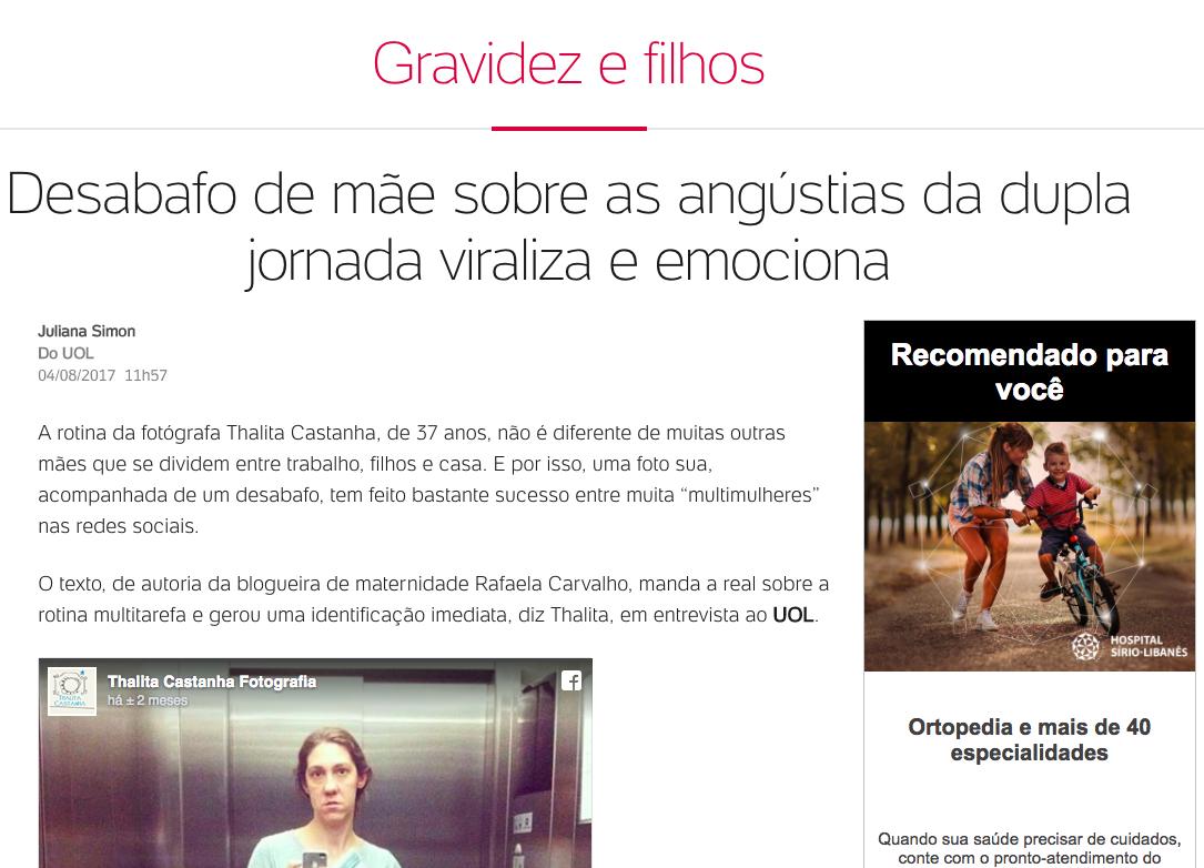 Imagem capa - Desabafo de mãe sobre as angústias da dupla jornada viraliza e emociona. por Thalita Castanha