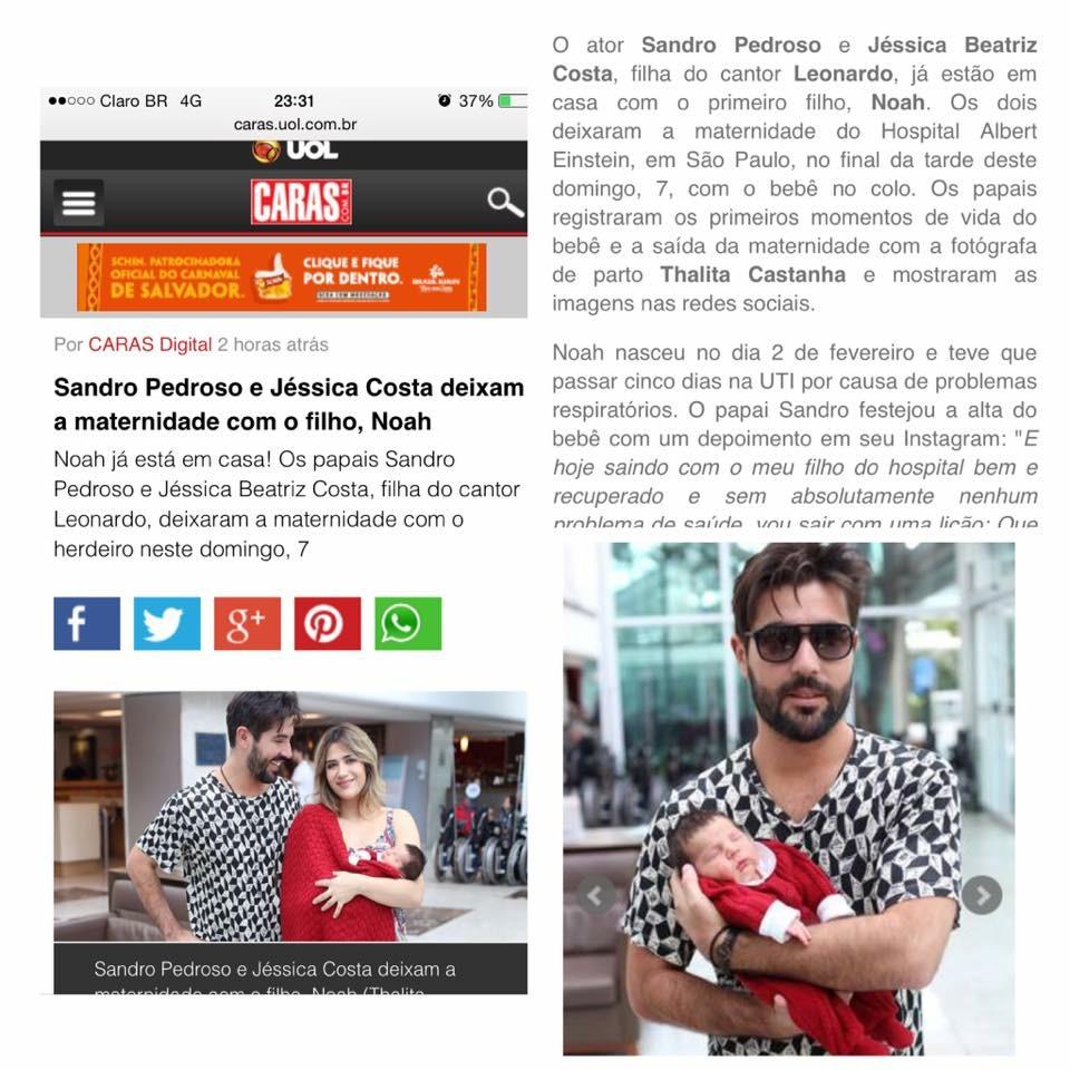 Imagem capa - Sandro Pedros e Jessica Costa deixam a maternidade com filho, Noah. por Thalita Castanha