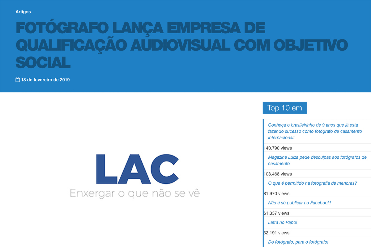 Imagem capa - LAC é matéria no Papo de Fotógrafo por LAC
