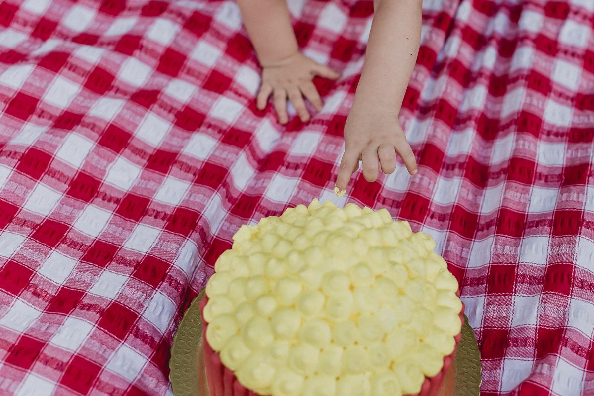 detalhe da Mao do Joao tocando o bolo pela primeira vez