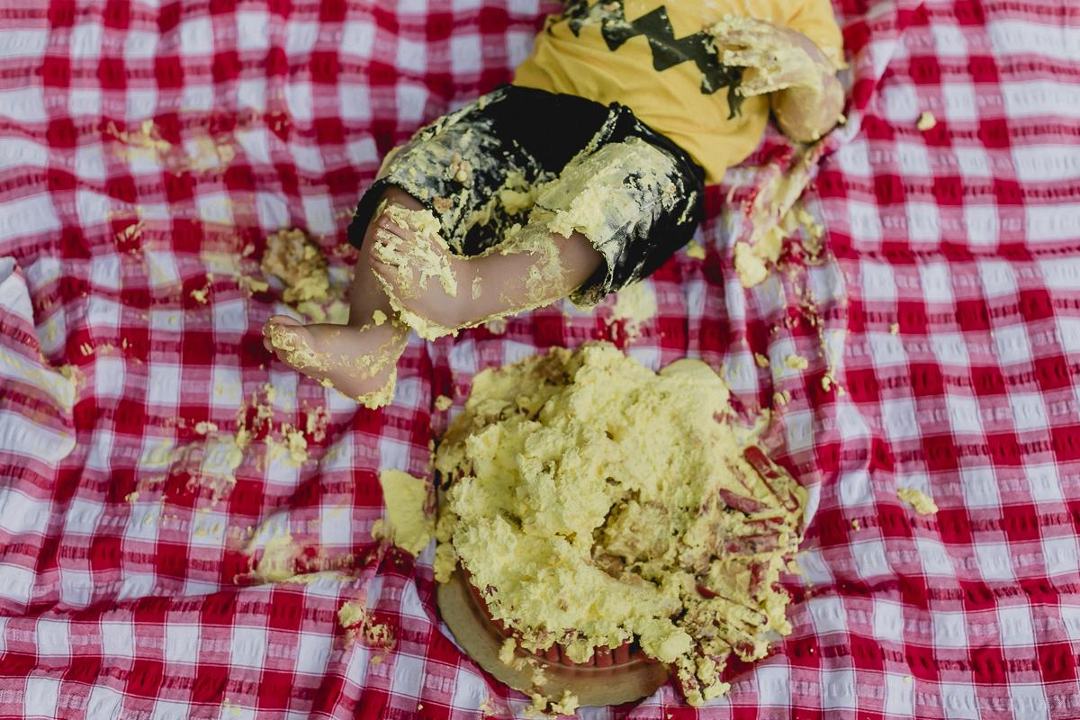 detalhes do pe do joao no bolo usado no ensaio smash the cake