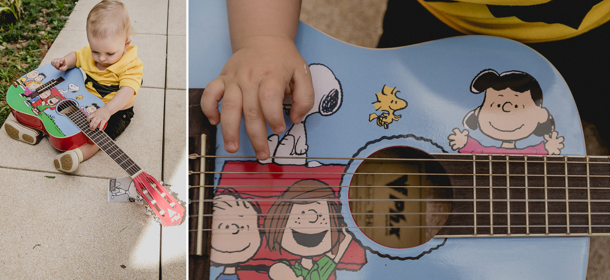 joao brincando com seu violão tematizado do snoop