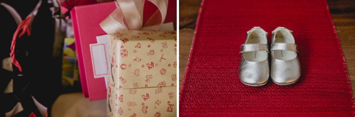 detalhes dos presentes e do sapatinho usado na festa