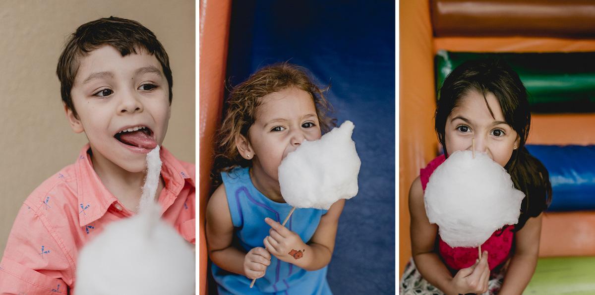 criancas comendo algodao doce