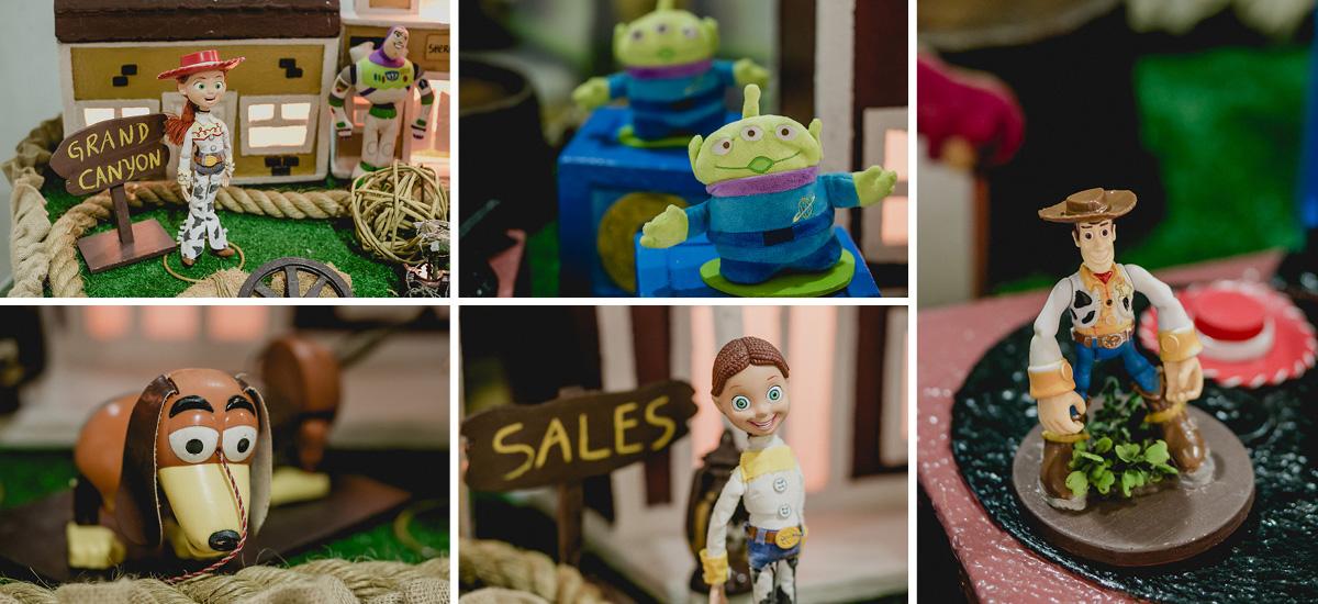 detalhes da mesa do bolo com o tema toy story