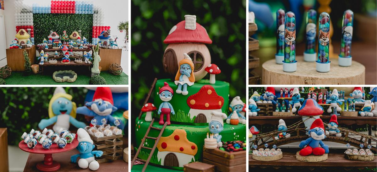 detalhes da mesa do bolo com o tema smurfs