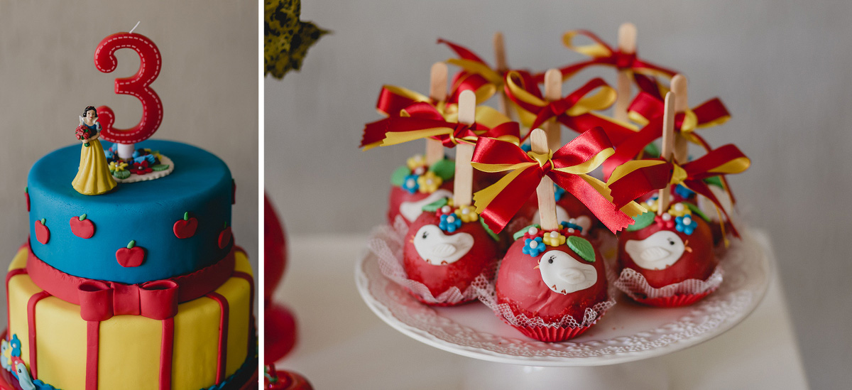 bolo e maça do amor com o tema da branca de neve