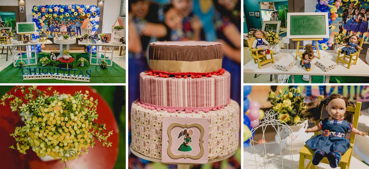 detalhes da mesa do bolo com o tema da chiquititas
